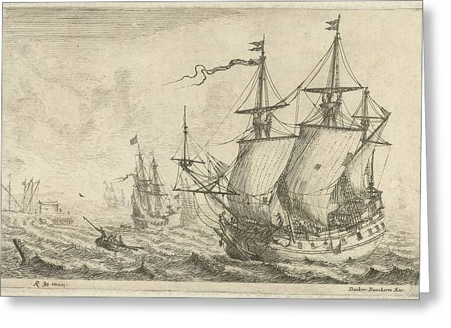 Seascape With Several Ships At A Wharf, Reinier Nooms Greeting Card