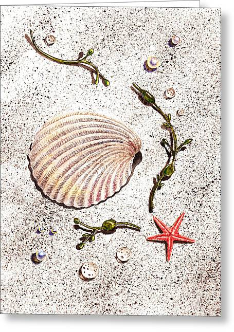 Seashell Sea Star And Pearls On The Beach Greeting Card by Irina Sztukowski