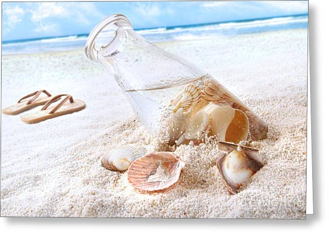 Seashells In A Bottle On The Beach Greeting Card by Sandra Cunningham