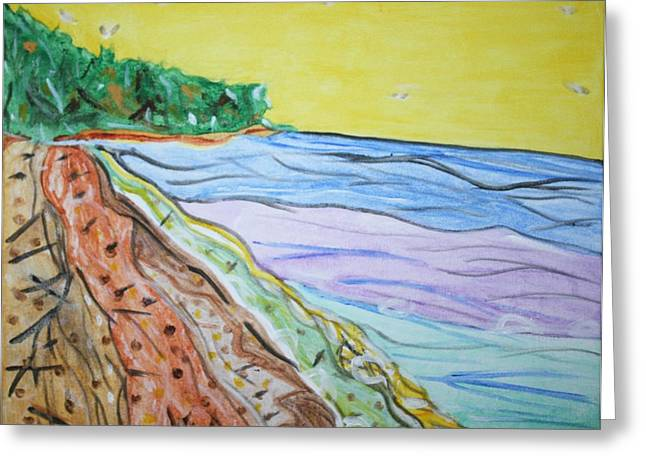Greeting Card featuring the painting Seashore Bright Sky by Stormm Bradshaw