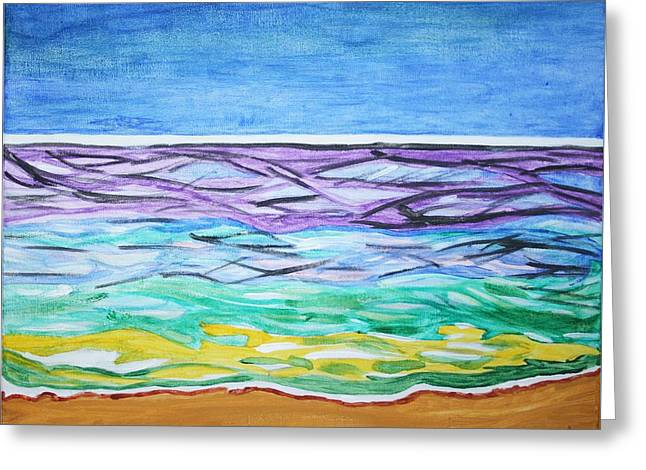 Greeting Card featuring the painting Seashore Blue Sky by Stormm Bradshaw