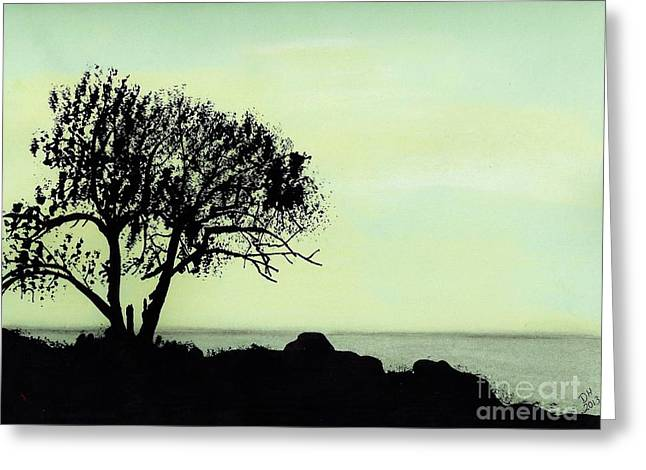 Greeting Card featuring the drawing Seashore Silhouette by D Hackett