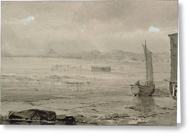 Seashore Study Low Tide, With Fishing Boats And Fisherfolk Greeting Card