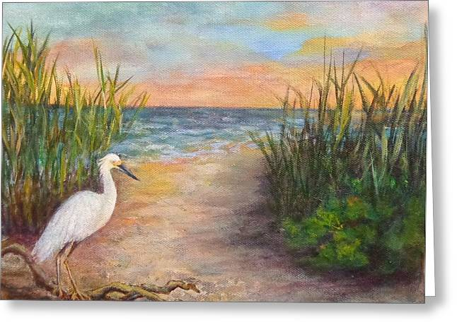Seaside Dining Greeting Card by Annie St Martin