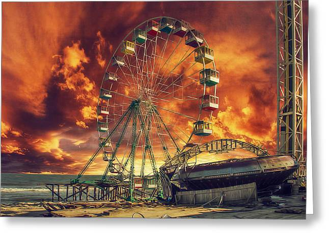 Seaside Ferris Wheel Greeting Card by Kim Zier