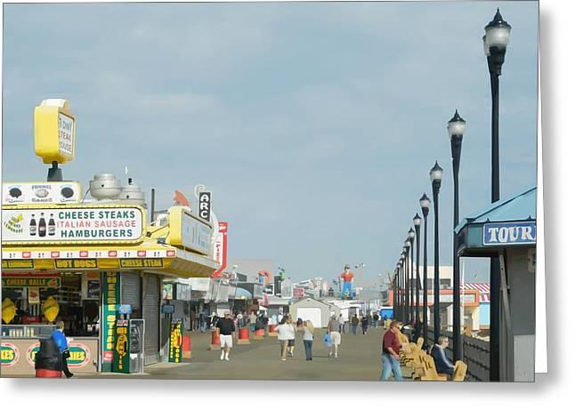 Seaside Heights Boardwalk Greeting Card by John Sondey