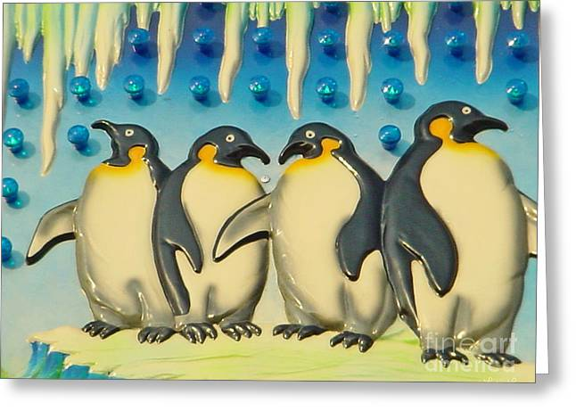 Seaside Funtown Penguins Greeting Card