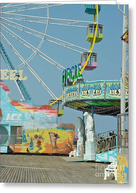 Seaside Funtown Ferris Wheel Greeting Card by Lyric Lucas