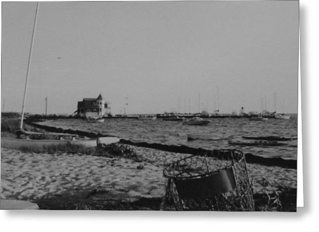 Seaside Park Nj Yacht Club Bw Greeting Card by Joann Renner