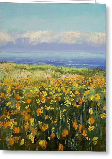 Seaside Poppies Greeting Card by Michael Creese