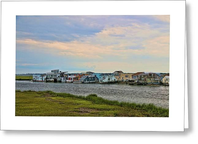 Seaside Shanty Town Greeting Card by Allen Beatty