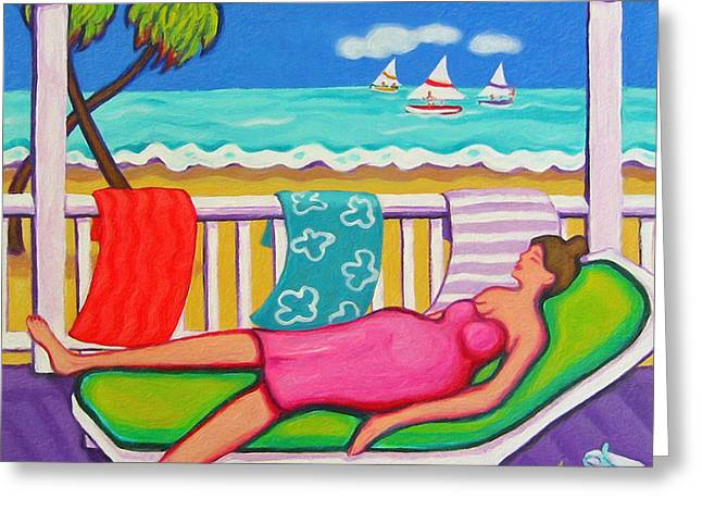 Seaside Siesta Greeting Card by Rebecca Korpita