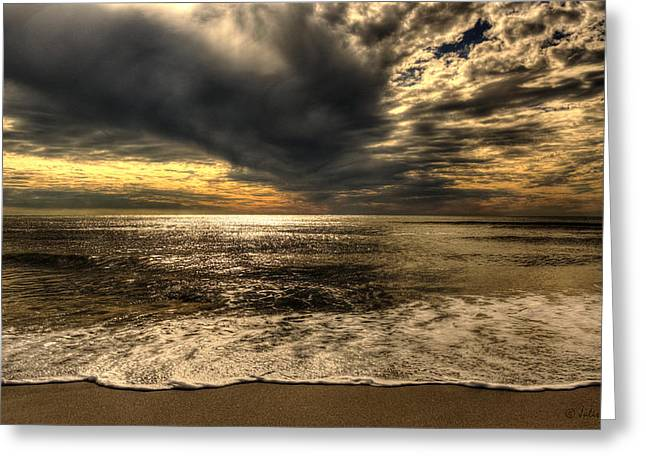 Seaside Sundown With Dramatic Sky Greeting Card
