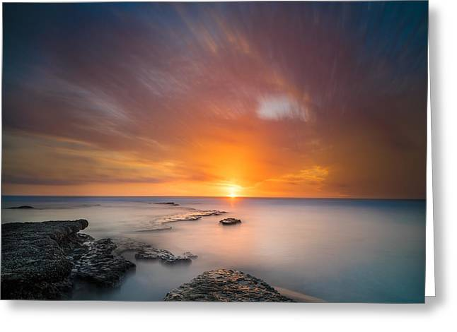 Seaside Sunset 2- Square Greeting Card by Larry Marshall