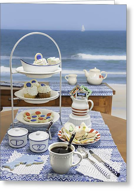 Seaside Tea Party Greeting Card by Karen Stephenson