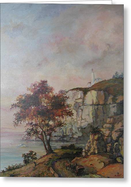 Greeting Card featuring the painting Seaside by Tigran Ghulyan