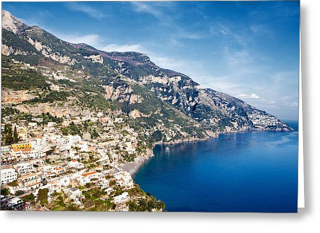 Seaside Town On The Amalfi Coast Greeting Card