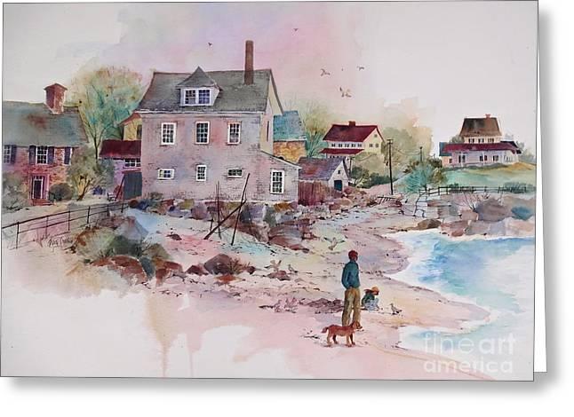 Seaside Village Greeting Card by Sherri Crabtree