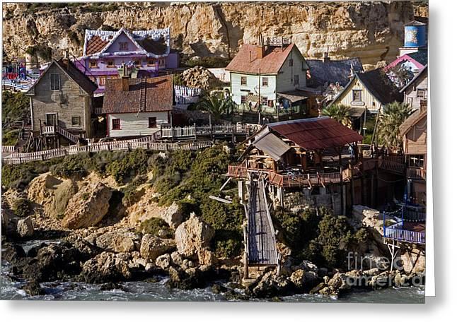 Seaside Village Under The Cliffs, Malta Greeting Card
