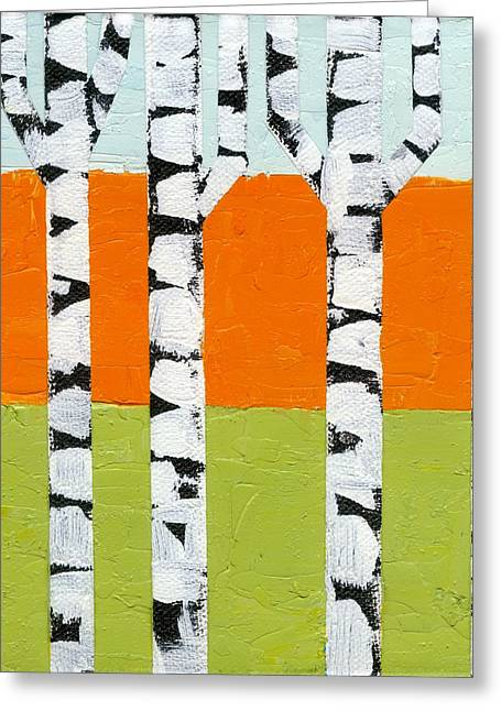 Seasonal Birches - Spring Greeting Card by Michelle Calkins