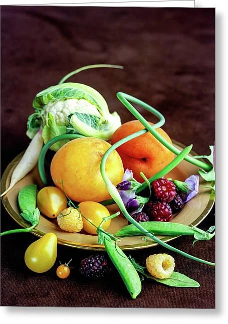 Seasonal Fruit And Vegetables Greeting Card by Romulo Yanes