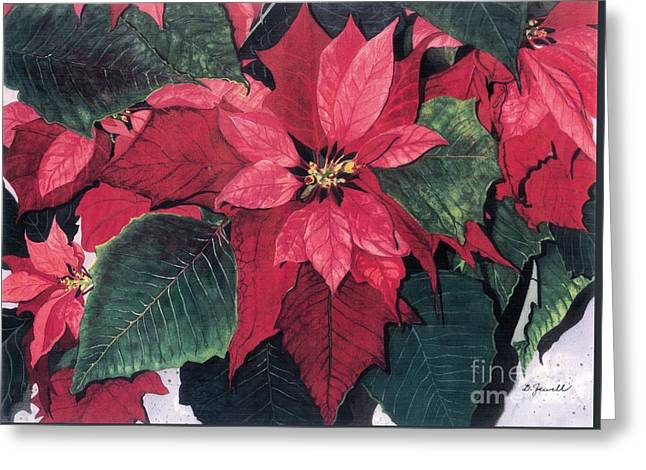 Greeting Card featuring the painting Seasonal Scarlet 2 by Barbara Jewell