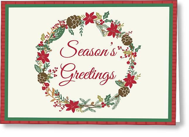 Greeting Card featuring the digital art Season's Greetings Holiday Card by Jaime Friedman