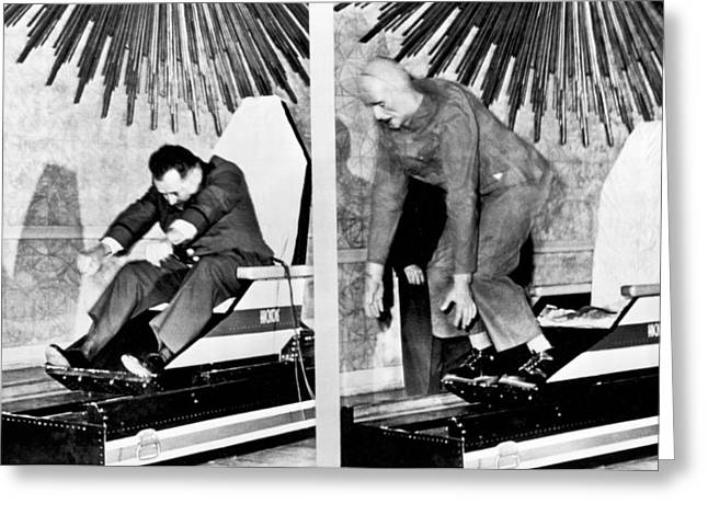 Seat Belts Work On Test Sled Greeting Card by Underwood Archives