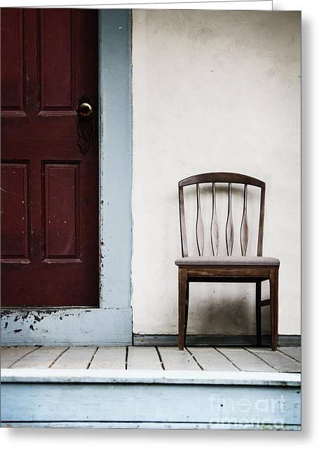 Seat By Door Greeting Card by Margie Hurwich