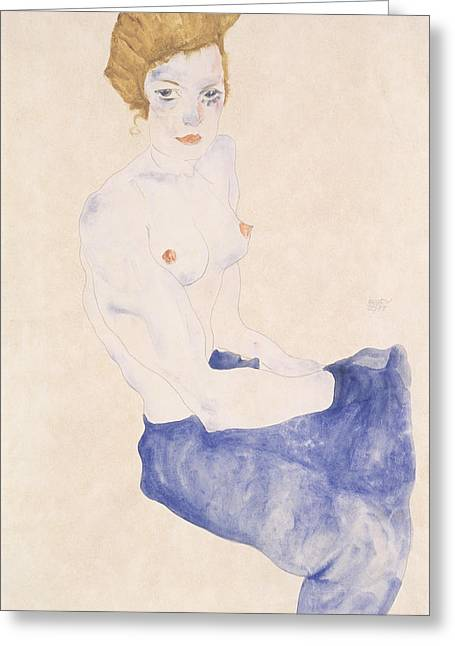Seated Blue Nude, 1911 Greeting Card by Egon Schiele