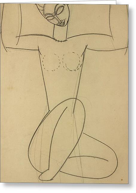 Seated Caryatid Greeting Card by Amedeo Modigliani