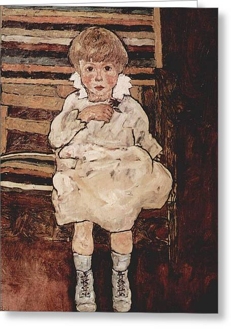 Seated Child Greeting Card by Egon Schiele