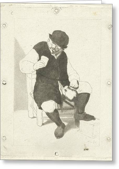 Seated Farmer With Pitcher, Cornelis Ploos Van Amstel Greeting Card
