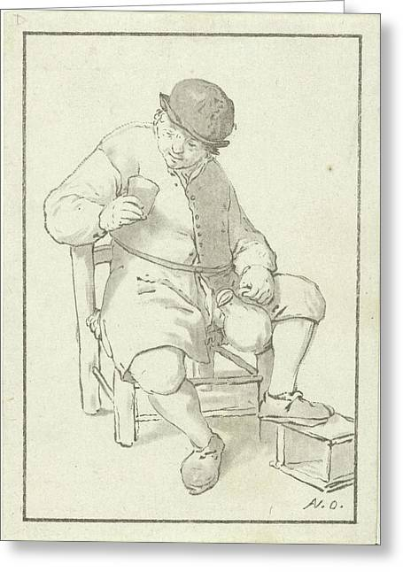 Seated Farmer With Pitcher, Print Maker Cornelis Ploos Van Greeting Card by Cornelis Ploos Van Amstel And Adriaen Van Ostade