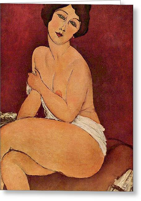 Seated Female Nude Greeting Card by Amedeo Modigliani