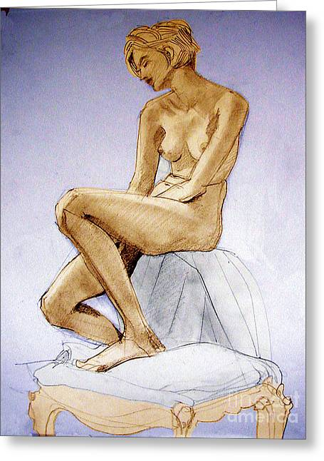 Tinted Figure Drawing Of A Seated Female Nude Dreaming Greeting Card
