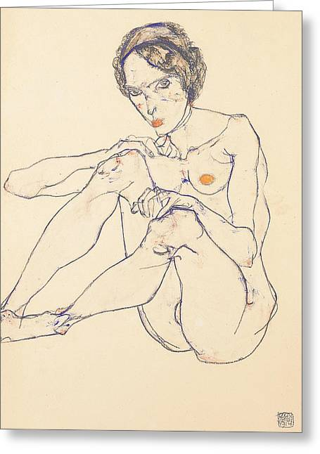 Seated Female Nude Greeting Card by Egon Schiele