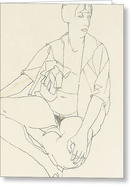 Seated Female Nude With Open Blouse Greeting Card by Egon Schiele