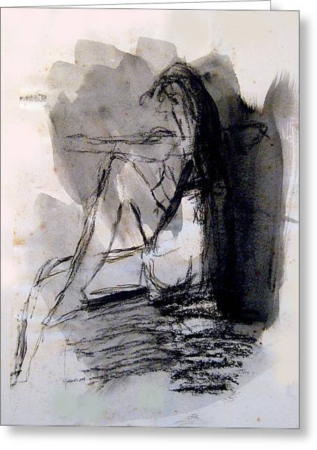 Seated Figure Ink Wash Greeting Card by James Gallagher