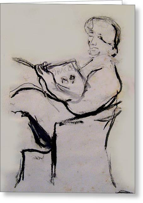 Seated Figure Reading Greeting Card