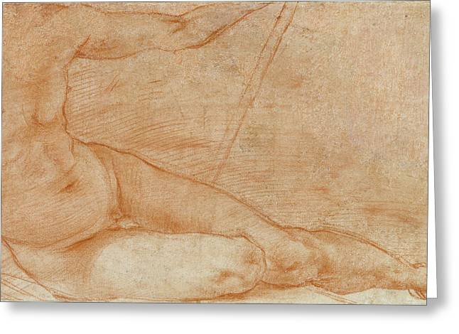 Seated Figure Recto,  Reclining Figure Verso Pontormo Greeting Card