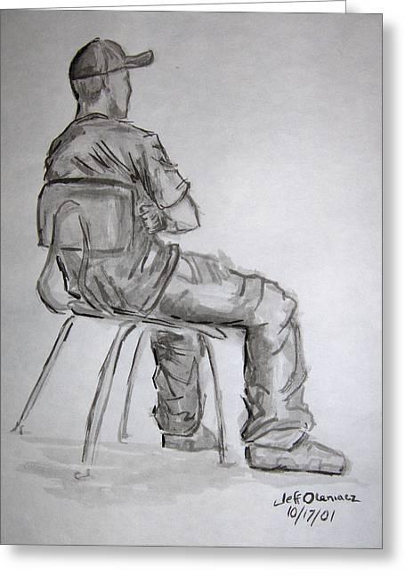 Seated Man In Ball Cap Greeting Card by Jeffrey Oleniacz