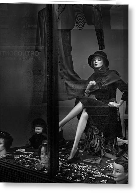 Seated Mannequin In Storefront Window Display Greeting Card