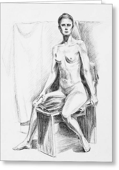 Seated Model Drawing  Greeting Card by Irina Sztukowski