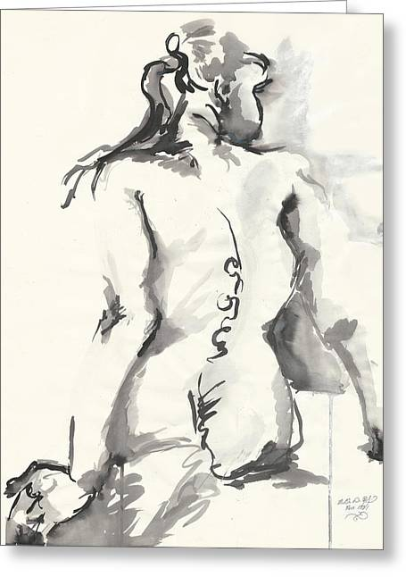 Seated Nude Greeting Card by Melinda Dare Benfield