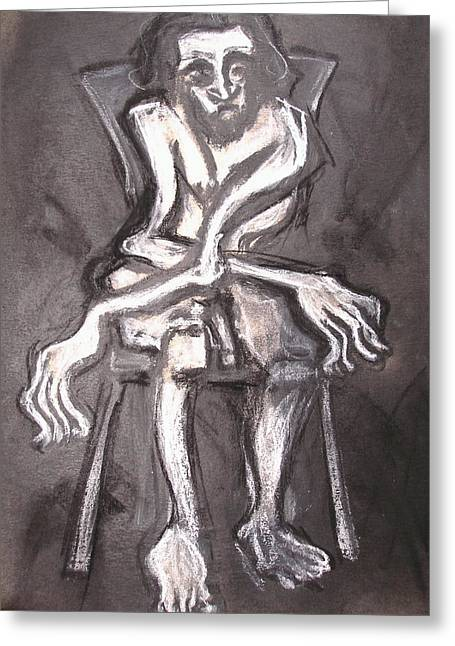 Seated Nude Old Man Greeting Card