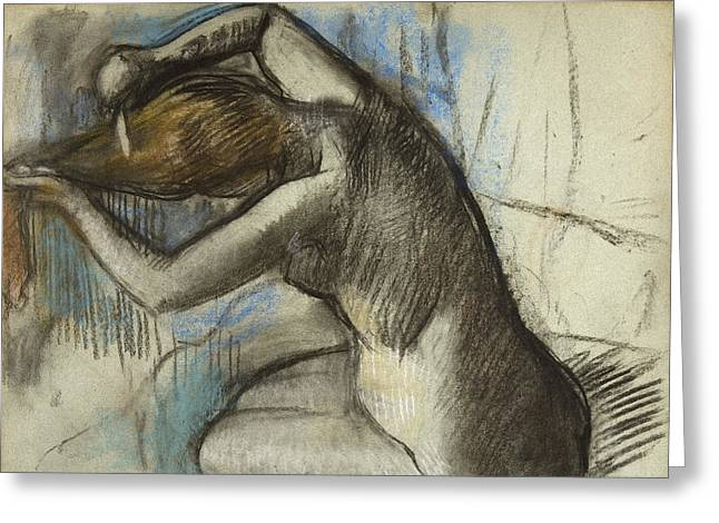 Seated Nude Woman Brushing Her Hair Greeting Card by Edgar Degas