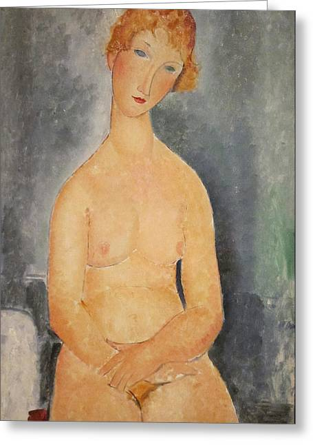 Seated Nude Woman Painting Greeting Card by