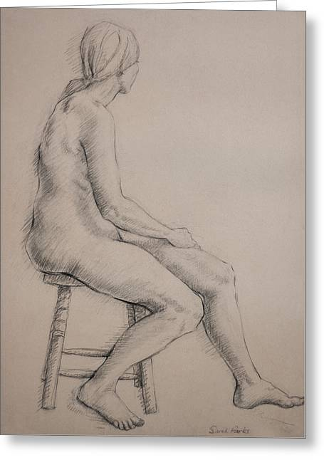 Seated On Stool Greeting Card
