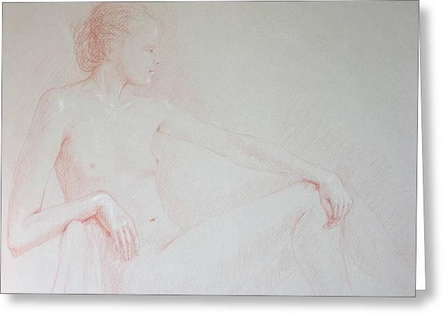 Seated Woman Greeting Card by Deborah Dendler